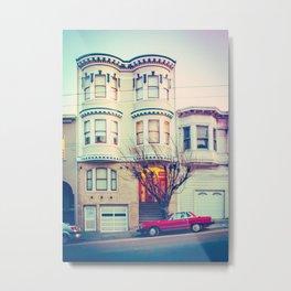 Red Car in San Francisco Metal Print