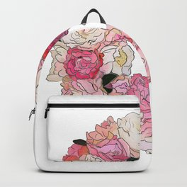 Peony Floral Wreath Painting Backpack