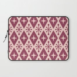 Mid Century Modern Atomic Triangle Pattern 922 Burgundy and Pink Laptop Sleeve