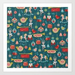 Teal Christmas Ornament Pattern Art Print