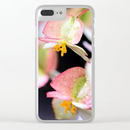 Raindrops on Tiny Begonia Blooms Clear iPhone Case
