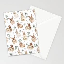 Bunnies and Leaves Stationery Cards