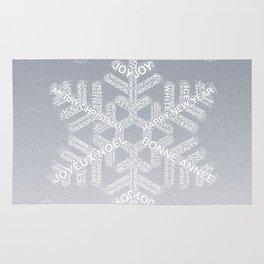 Typographic Snowflake Greetings - Silver Grey Rug