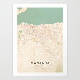 Managua, Nicaragua - Vintage Map Kunstdrucke