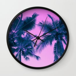 Palm Trees Pink Wall Clock