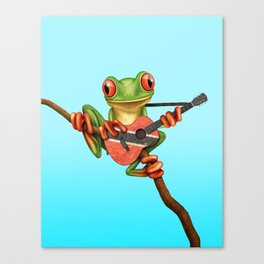 Tree Frog Playing Acoustic Guitar with Flag of Trinidad and Tobago Canvas Print