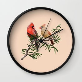 Northern Cardinal Mates Wall Clock