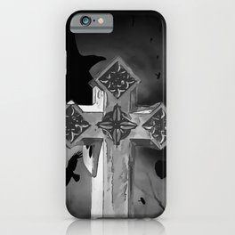 Moonlit GraveYard Cross With Crows iPhone Case
