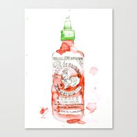 sriracha Canvas Prints featuring Sexy Hot - Sriracha by All Day Dreaming