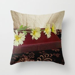Daisy Flowers on Red Book Library Art A223 Throw Pillow
