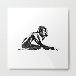 Woman flexing Metal Print