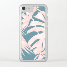 Palm Leaves Pink Coral on Deep Ocean Blue Clear iPhone Case