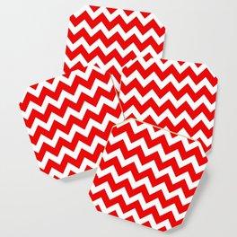 Chevron Red White Coaster