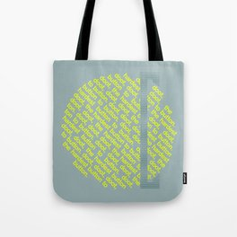 Button to Button - grey & chartreuse Tote Bag