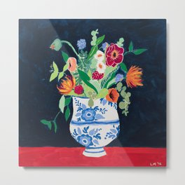 Bouquet of Flowers in Blue and White Urn on Navy Metal Print