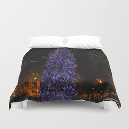 The Tree and the Tower (Chicago Christmas/Holiday Collection) Duvet Cover