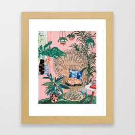 Ginger Cat in Peacock Chair with Indoor Jungle of House Plants Interior Painting Framed Art Print