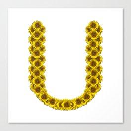 Isolated sunflower alphabet U Canvas Print