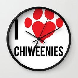 I Love Chiweenie Logo T-Shirt Wall Clock