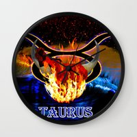 taurus Wall Clocks featuring Taurus by LBH Dezines