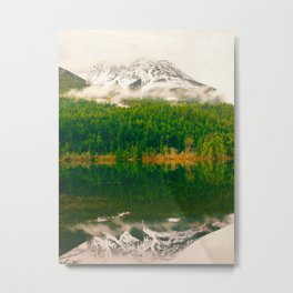 Reflective Mountain Lake With Trees Forest Metal Print
