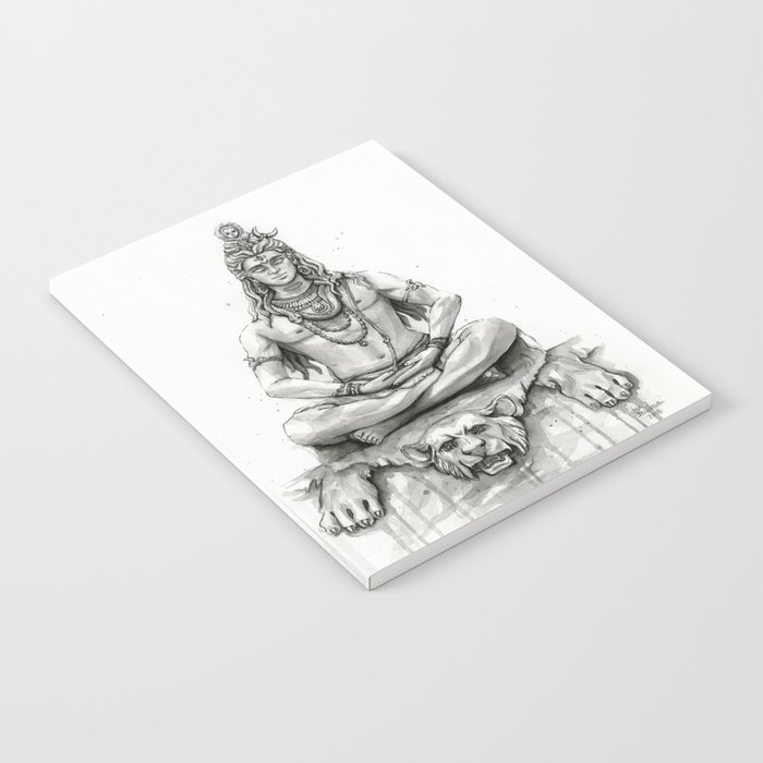 Lord Shiva Painting, Shiva Art, Meditation Shiva Portrait Notebook by  olechka