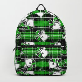 Cute punk raccoon on plaid background vector pattern.  Backpack