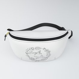 Fox and Loon Playing in Floral Wreath Design — Floral Wreath with Animals Illustration Fanny Pack