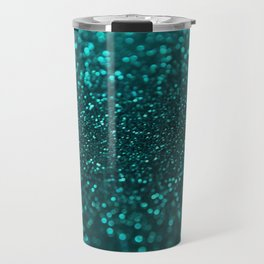 TEAL SPARKLING GLITTER LIGHTS Travel Mug
