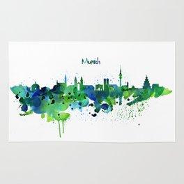 Munich Skyline Silhouette Rug
