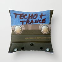techno Throw Pillows featuring TECHNO by The Family Art Project