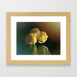 Yellow Vintage Roses Framed Art Print