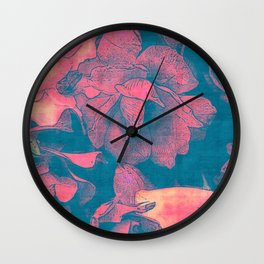 Rose Garden Blue 3- Texture Rose Study in red peach scarlet indigo Wall Clock