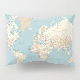 "Cream, brown and muted teal world map, ""Jett"" Pillow Sham"