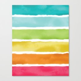 Watercolor Rainbow Stripes Canvas Print