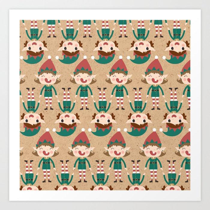 Santa's Elven Slaves I (Patterns Please) Art Print