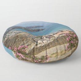 Cefalu view from La Roca Floor Pillow