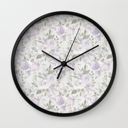 Mauve green lavender blush watercolor boho floral Wall Clock