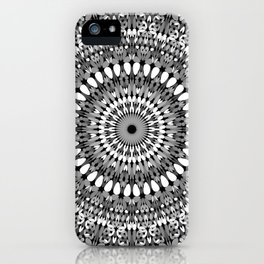 Grey Ornate Gravel Mandala iPhone Case