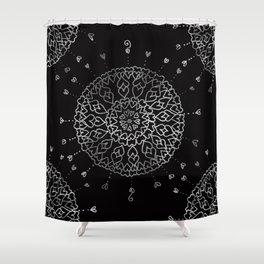 Heartful mandala (black and white) Shower Curtain