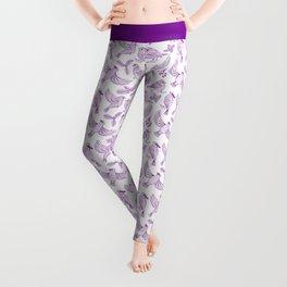 Winter Birds and Foliage Pattern (Purple) Leggings