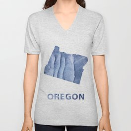 Oregon map outline Blue watercolor Unisex V-Neck