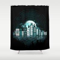 sound Shower Curtains featuring Sound City by dan elijah g. fajardo