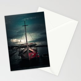Sailboat in harbor Stationery Cards