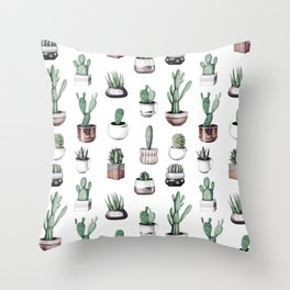 Cactus + Succulents Rose Gold Pattern by Nature Magick Throw Pillow