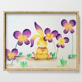 Bunny Rabbit in Colorful Flower Garden Serving Tray