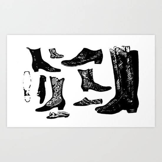 Vintage Shoes Art Print