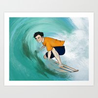 percy jackson Art Prints featuring Percy Surfing by limevines