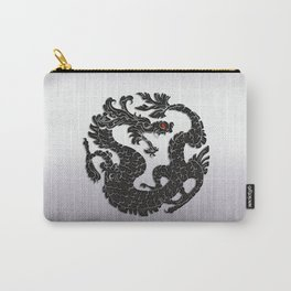 Black Oriental Dragon on Silver Carry-All Pouch