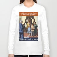 philadelphia Long Sleeve T-shirts featuring PHILADELPHIA/vintage by Kathead Tarot/David Rivera